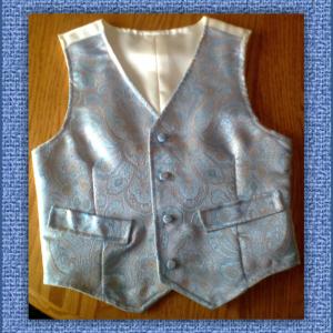 Vest in Blue Gold & Ivory