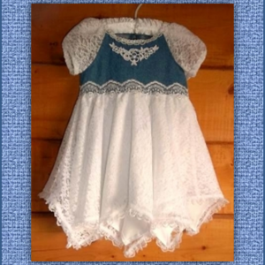 Renee Lace & Denim Flower Girl Dress